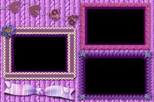 Рамка из тканей и тесемок, украшенная цветами из пуговиц, бантиком и сердечками. Все оттенки фиолетового и розового цвета.