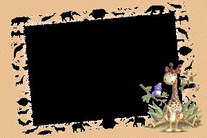 Детская бесплатная рамка для фотошоп. Веселый жираф и птичка играют на лесной опушке. Айда к ним!