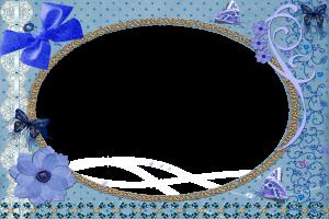Синяя рамка с цветами и бантиками подойдет для любого случая.