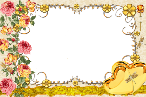 Цветочная фоторамка. Золотые сердечки. Желтый цвет приносит богатство и радость. Это цвет солнца и тепла.