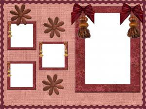 Фоторамка на четыре фотографии. Основное фото украшают величественные банты, а три маленьких окошечка игриво подчеркивают ромашки.