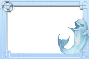 Голубенькая фоторамка с дельфином.