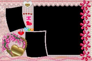 Любовная фоторамка для фотошопа с золотым сердцем, ромашками и бисером. Не забудьте сделать интересную надпись в левом уголочке.