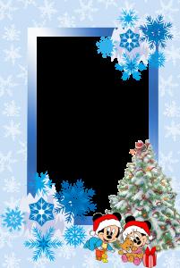 Новогодняя рамка для фотошоп. Маленькие мышата уже получили свои подарки от деда мороза и просто искрятся счастьем. Красивые снежинки парят вокруг еще больше унося в сказку.