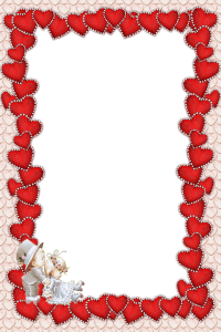 Классная рамка для фотошопа из сердечек. В уголочке притаились маленькие мальчик и девочка - символ чистоты чувств и намеряний.