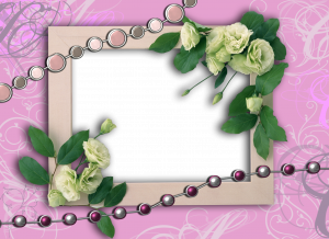 Рамочка на розовом фоне с украшением из роз идеально подойдет для свадебных фотографий.