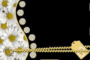 Фоторамка. Загадочный коллаж с ромашками для детского изображения.