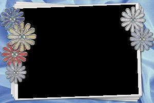 Фоторамка. Строгое обрамление на голубом фоне с цветами будет уместно для важного объявления.