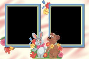 Фоторамка заяц и медвежонок - лучшие друзья!