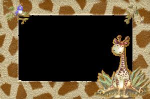 фоторамочка в африканском стиле. Прогуляйтесь по жарким саваннам вместе с жирафом и птичкой.