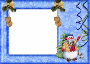 Новогодняя фоторамка. рамка со снеговиком