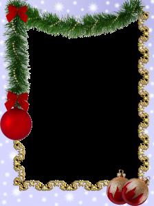 Красивая Новогодняя фоторамка с мишурой и шарами.