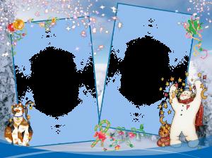 Новогодняя фоторамка. Снежный человек зажигает под звёздным дождиком.