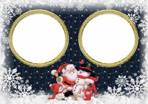 Новогодняя фоторамка. Дед Мороз поздравляет близняшек.