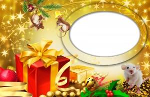 Новогодняя фоторамка. Мышата встречают Новый год среди упакованных коробочек.