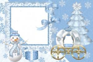 Новогодняя фоторамка. Ледяная карета, ёлка и вот уже принцесса едет на праздник.