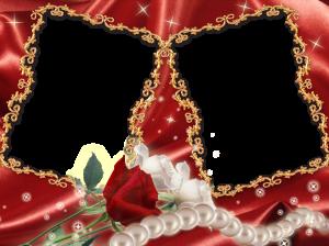 Фоторамка. Жемчужная нить и красная роза - романтично и красиво.