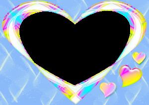 Фоторамка. Незатейливое сердечко на голубом фоне, легкое и красочное.