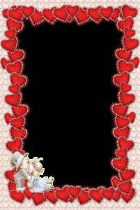 Рамочка из множества красных сердечек.