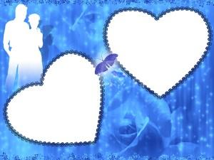 Фоторамка. Силуэт влюбленной пары на синем фоне украшает рамку для фотографии.