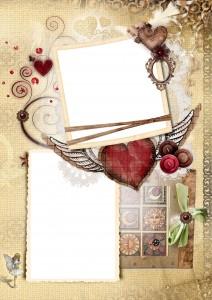 Фоторамка. Красивый коллаж с порхающим на крыльях любви сердцем.