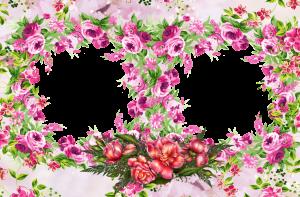 Фоторамка в окружении пышных розовых цветов прекрасно пойдет для изображений двух близких людей.