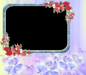 Фоторамки. Обычный шаблон, украшенный симметрично розовыми цветами на голубом фоне, будет уместен для фото блондинки.
