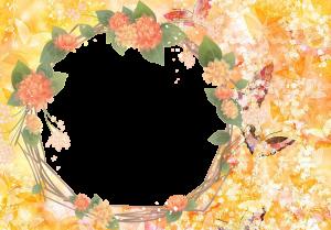 Фоторамки. Фотография в окружении цветочного сплетения и красивых бабочек.