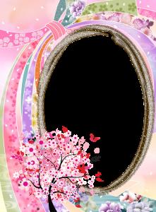 Фоторамки. Овальное обрамление с украшением в виде цветущей сакуры – идеальный вариант оформления снимка молодой женщины.