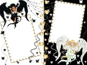 Рамка с ангелами. Белый и черный ангел - один охраняет днём, другой ночью.