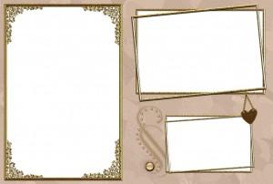 Позолоченная рамочка с бронзовым кулоном на три прямоугольных снимка.