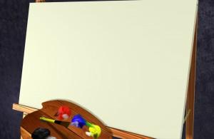 Фоторамка-7. Деревянный коллаж для фотошоп - заветные мечты юного художника на доске рисования.