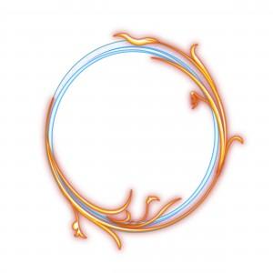 Круглая фоторамка. Небесно-голубую линию обвивает оранжевый побег.