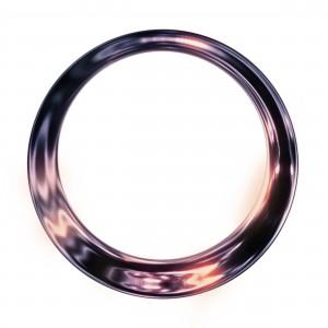 Фоторамка круг. В металлической поверхности дрожит сильная колдовская энергия тайной магии.