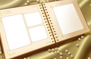 Коллаж на манер тетради для записей или фотоальбома.