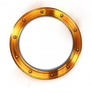Рамка для фотошопа - круг. Металлическая рамка напоминает иллюминатор корабля.