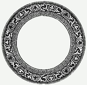 Старинная роспись, напоминающая античное искусство. Красивая круглая рамочка.