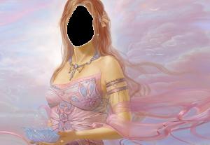 Женские шаблоны и костюмы для фотошопа - 152. Легкая фея в розовом закате.