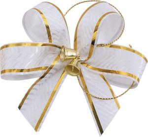 Чудесное украшение с золотистыми колокольчиками для свадебной фотографии.