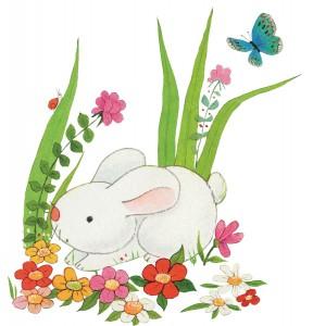 Клипарт заяц нюхает цветочки