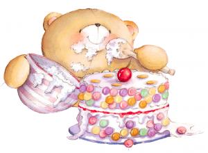 Клипарт мишка и праздничный торт