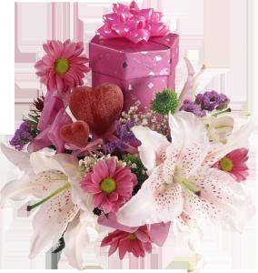 Лилии и герберы в сочетании с подарочной коробочкой и двумя сердцами – очень многозначительно.