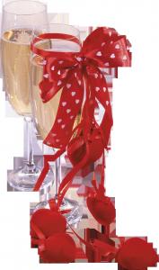 Фужеры с шампанским в красной перевязи и пылкими сердечками дополнят фото романтического ужина.