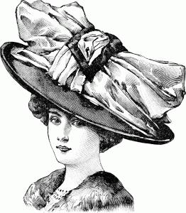 графический рисунок девушка в шляпе