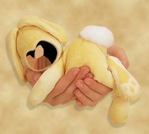Детские шаблоны для фотошопа - 163. Желтый кролик.  Мама держит на руках маленького спящего крольчонка.