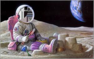 Детские шаблоны для фотошопа - 244. Крошечный космонавт строит из лунного песка крепости.