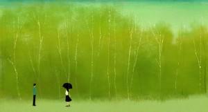 Фон для фотошопа - 22. Летний теплый дождь не помешает встрече.