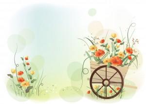 Фон для фотошопа - 5. Телега полная полевых цветов.
