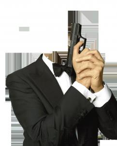 Мужские шаблоны и костюмы для фотошопа - 131. Джентльмен с пистолетом.