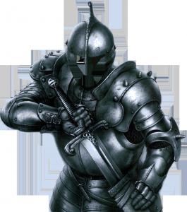 Мужские шаблоны и костюмы для фотошопа - 203. Закованный в броню средневековый воин готов к сражению.